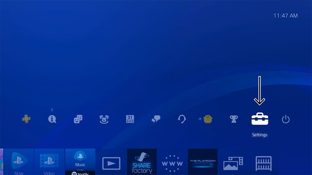PlayStation Home Screen with Settings App Highlighted