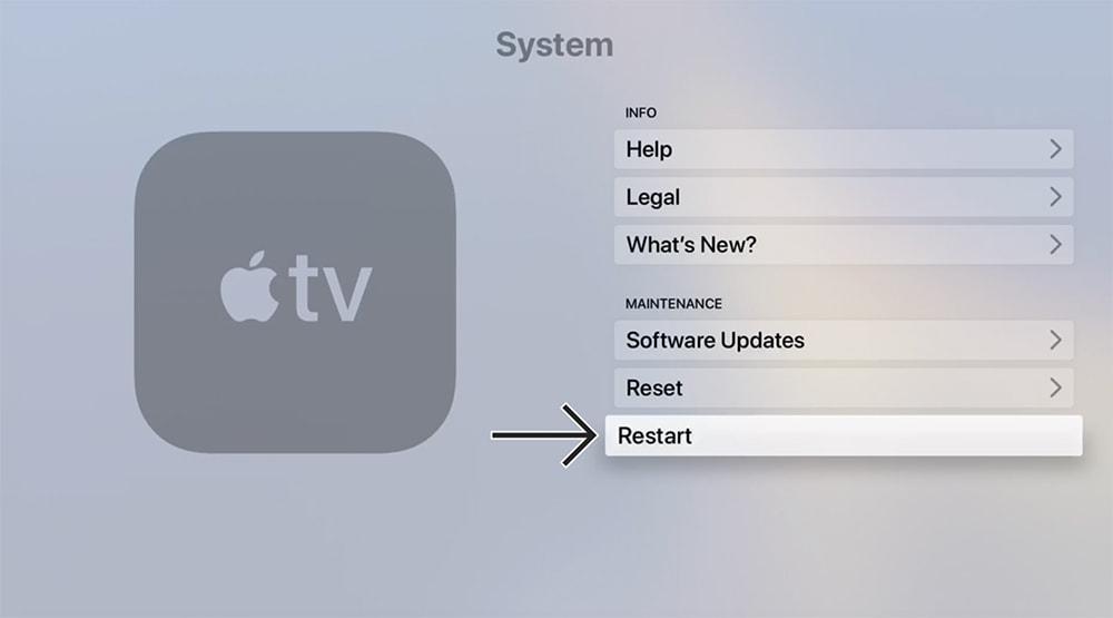 Restarting Apple TV from the Settings App