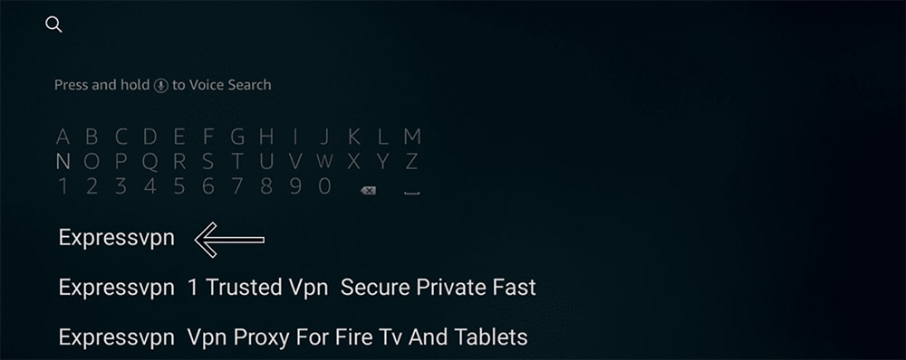 Searching for ExpressVPN on Fire TV Stick