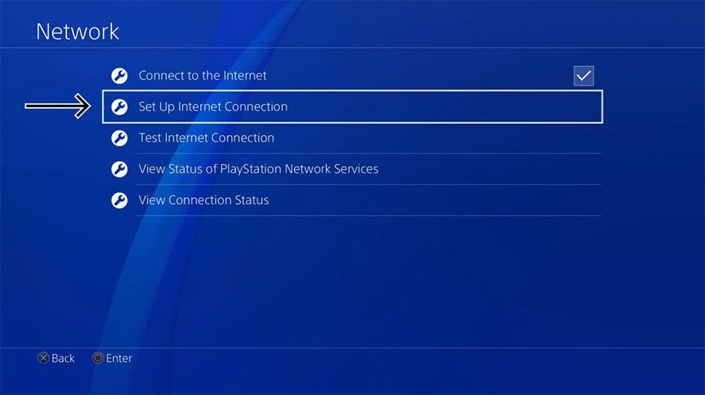 Set Up Internet Connection Panel on PlayStation