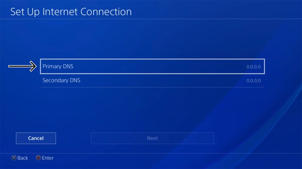 Setting Primary and Secondary DNS on PlayStation