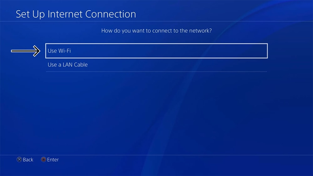 Setting a Type of Internet Connection on PlayStation