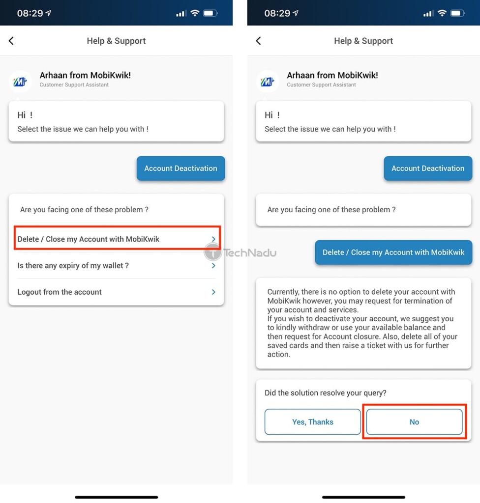 Steps to Delete MobiKwik Account