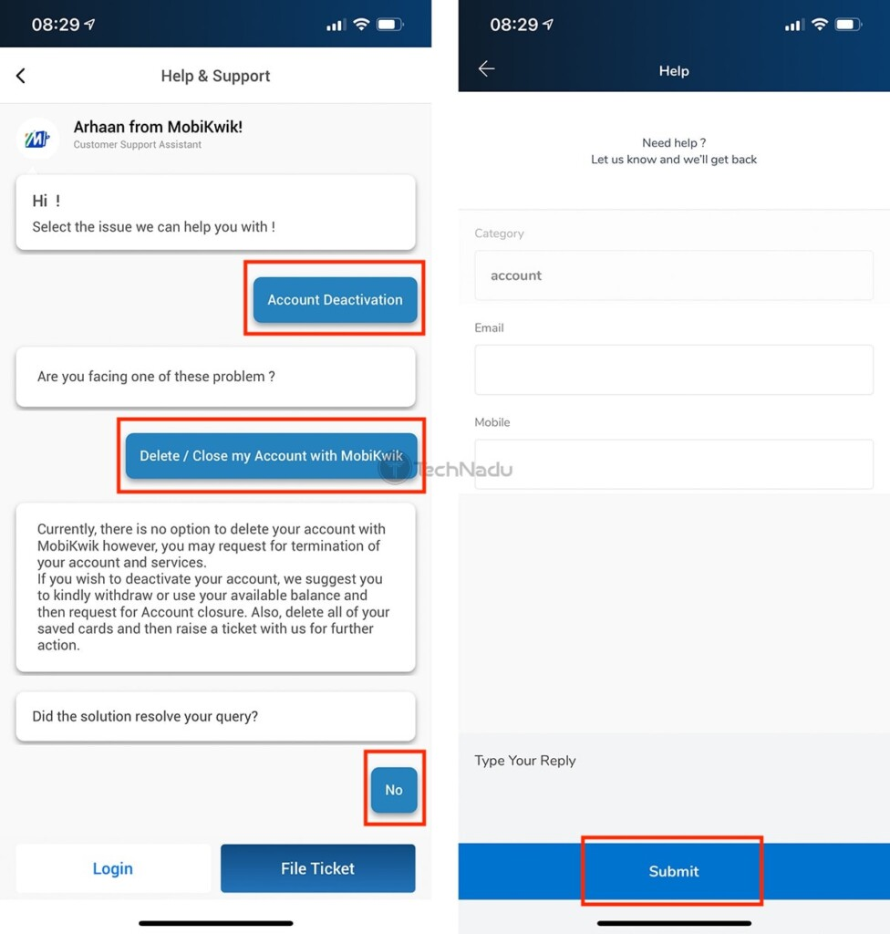 Submitting Customer Support Ticket MobiKwik App