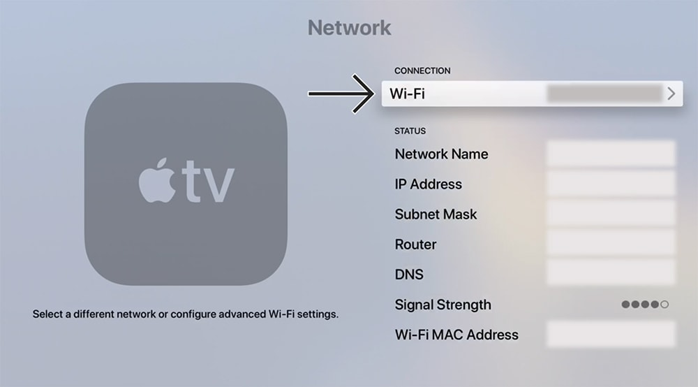 Wi-Fi Networks Listed Apple TV Interface