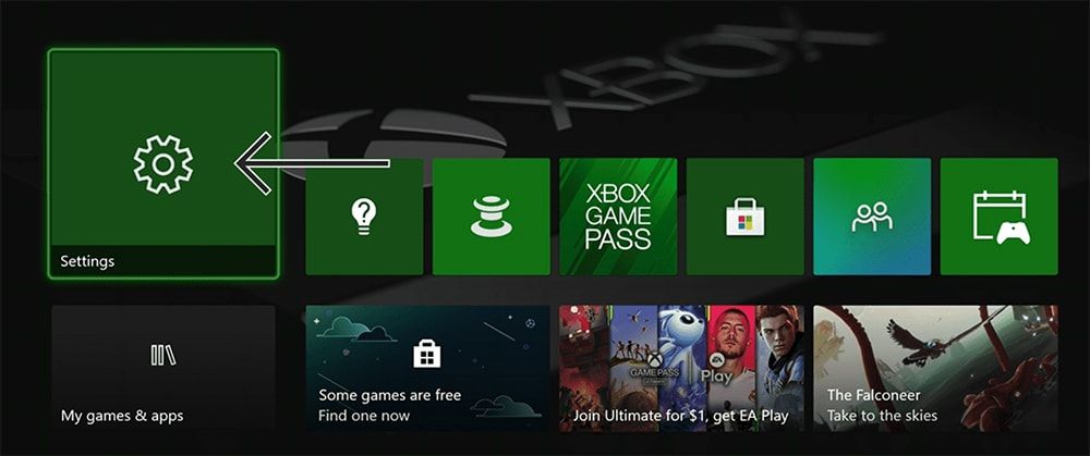 Xbox Home Screen with Settings App Highlighted