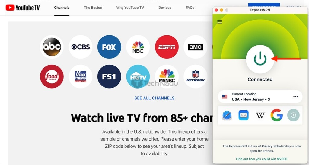 Accessing YouTube TV Outside the US via ExpressVPN