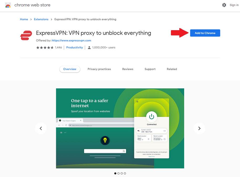 "image showing ""Add to Chrome"" button for ExpressVPN extension"