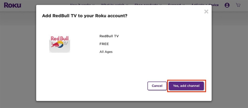 Adding Red Bull TV Private Channel on Roku