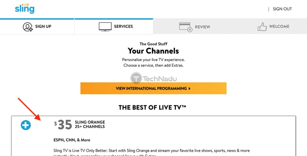 Adding Sling TV Packages to Subscription