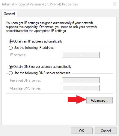 advanced IPV4 settings