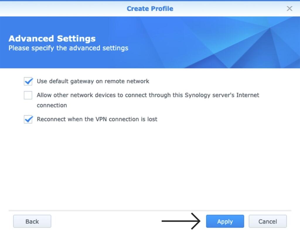 Advanced Settings VPN Setup on Synology NAS