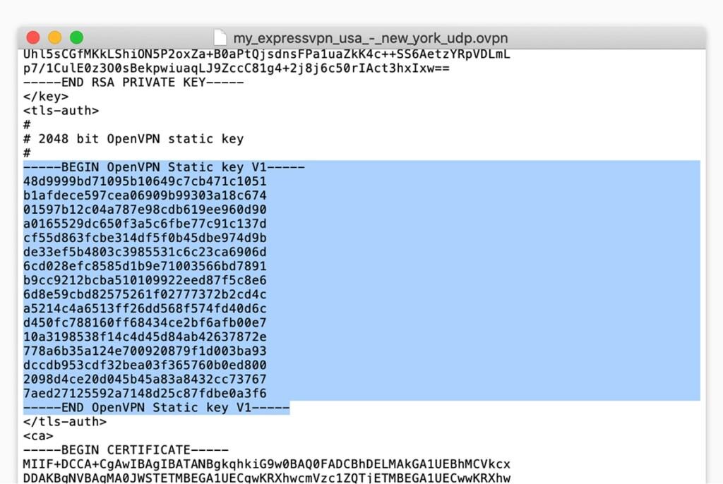 Copying TLS Keys from ExpressVPN
