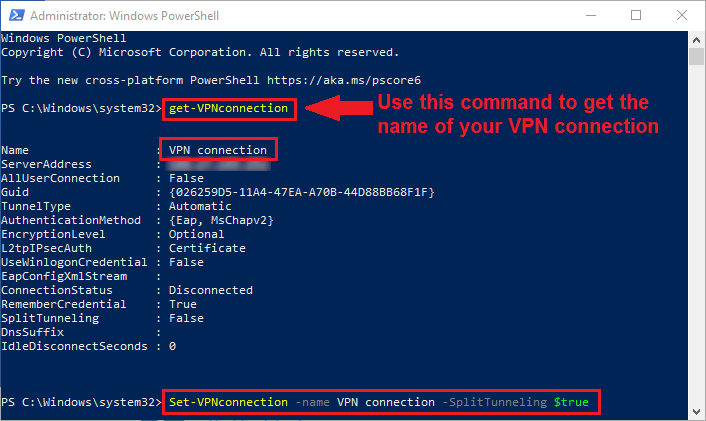 how to enable vpn split tunneling in windows 10 powershell
