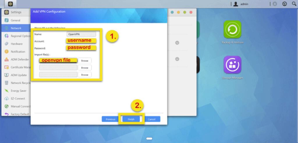 Entering VPN Information on ASUSTOR NAS Device