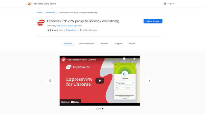 image showing ExpressVPN Chrome extension on web store