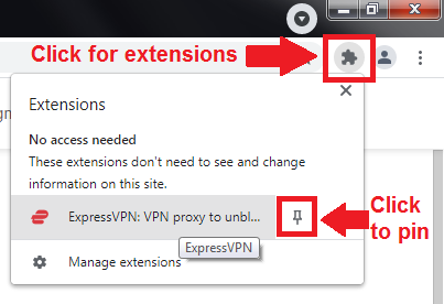 where to find the ExpressVPN extension button in Chrome