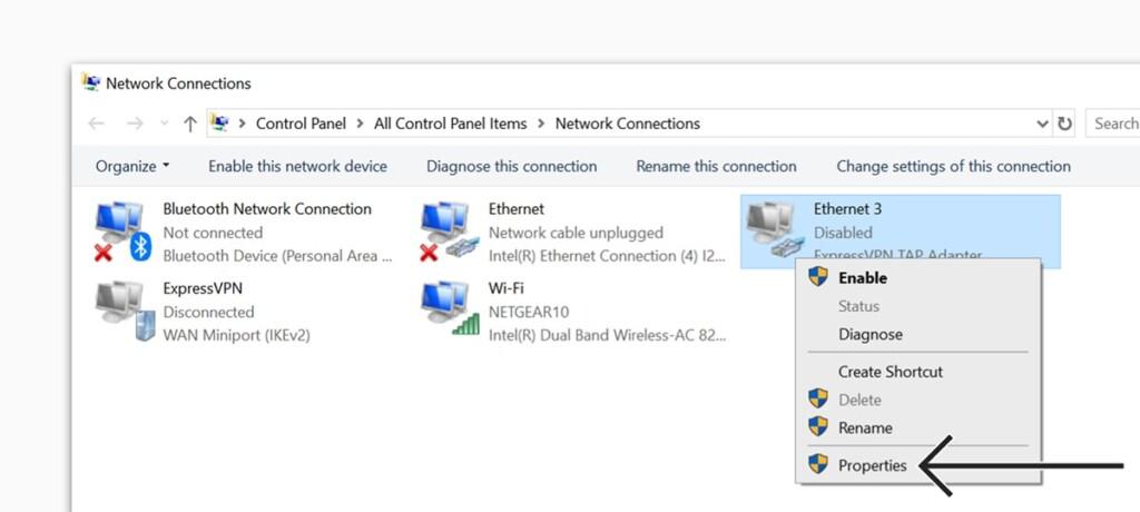 ExpressVPN TAP Adapter Properties Screen
