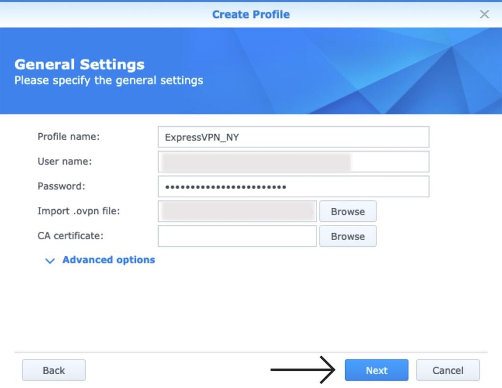 General VPN Settings Synology NAS