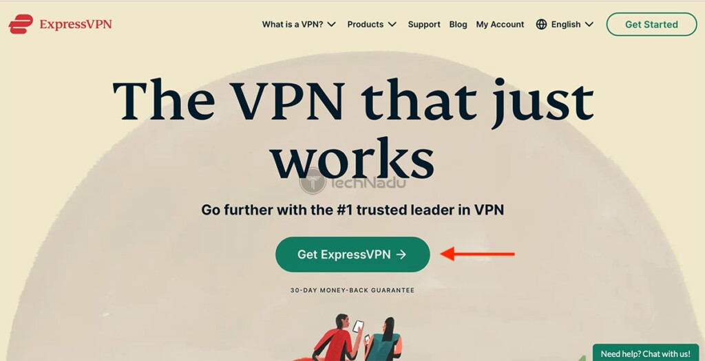 Initial Landing Page on ExpressVPN Website