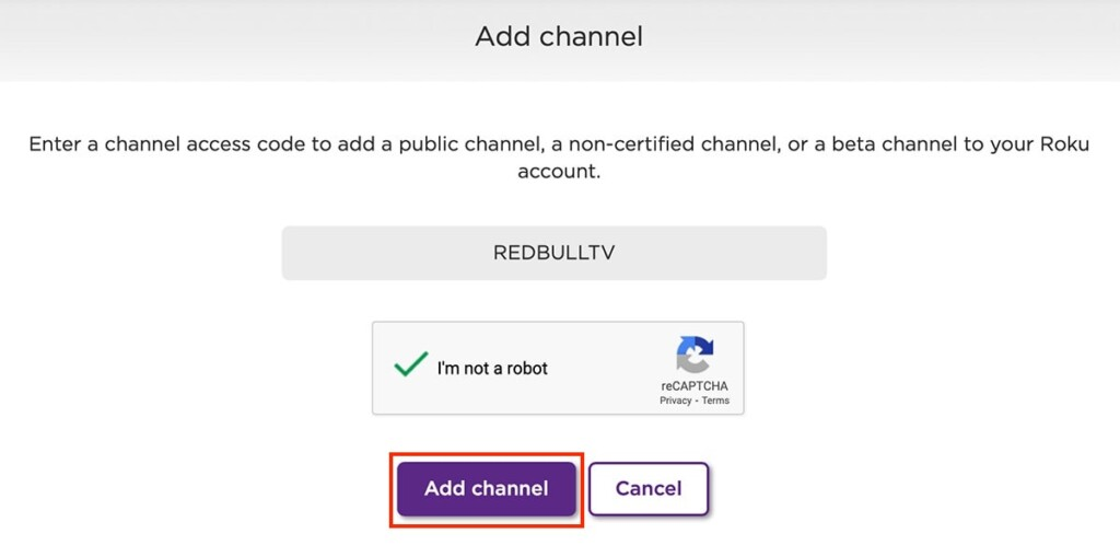 Installing Private Roku Channel via the Web