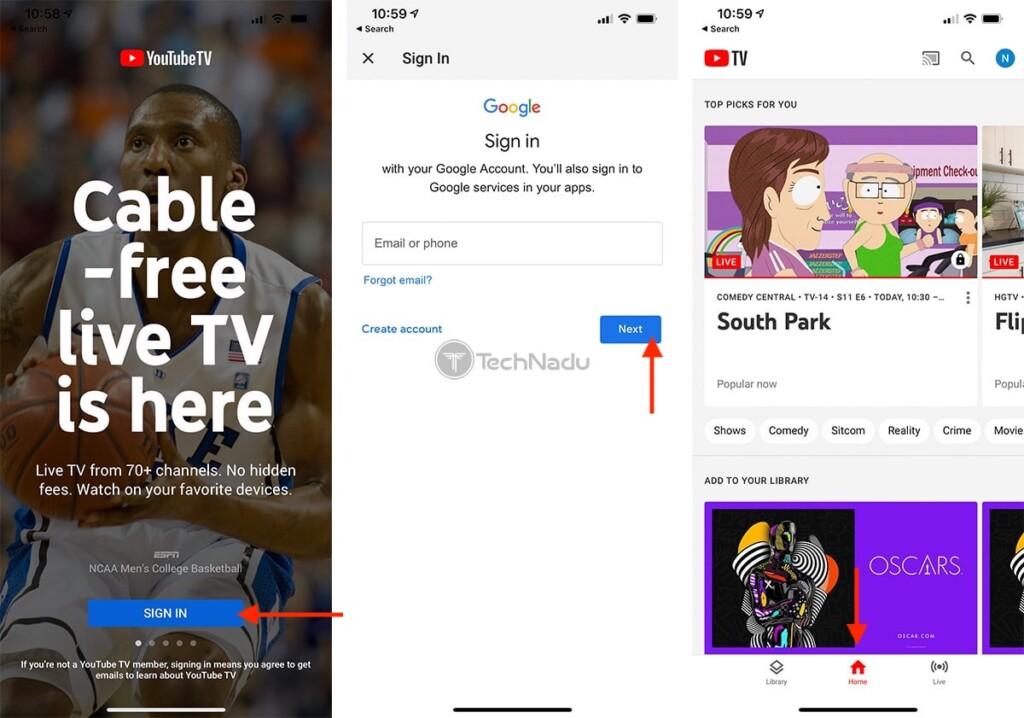 Logging Into YouTube TV on iOS