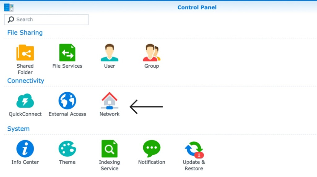 Network Group of Settings on Synology NAS