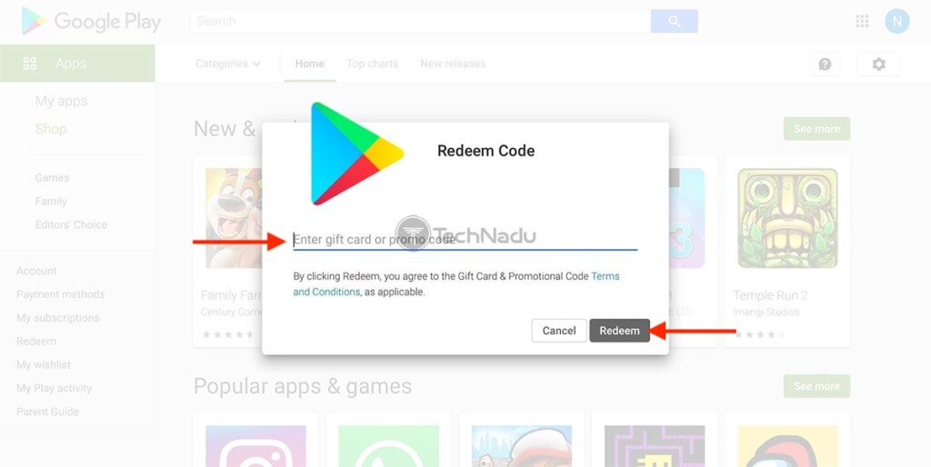 Redeeming Play Store Gift Code on the Web
