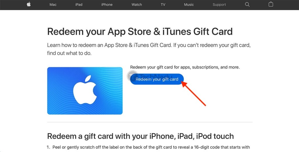 Redeeming iTunes Gift Card