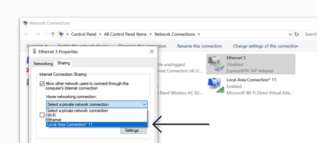 Setting VPN Sharing on Windows 10