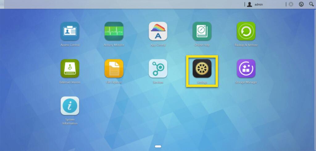 Settings App Interface ASUSTOR NAS Device