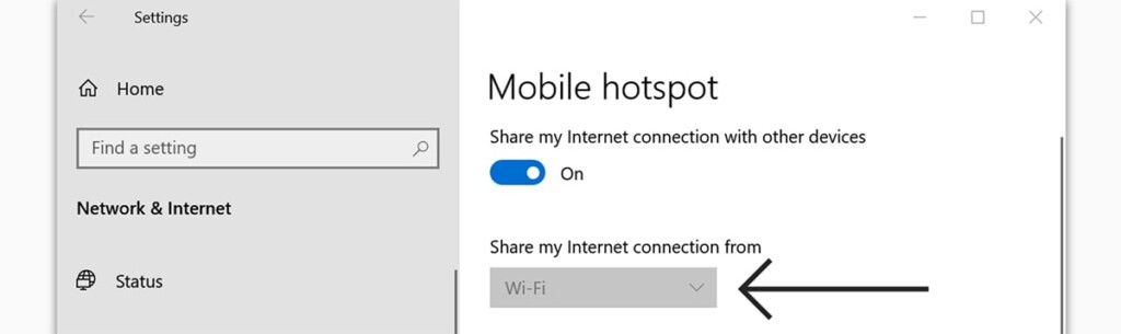 Sharing from Wi-Fi via Mobile Hotspot on Windows 10