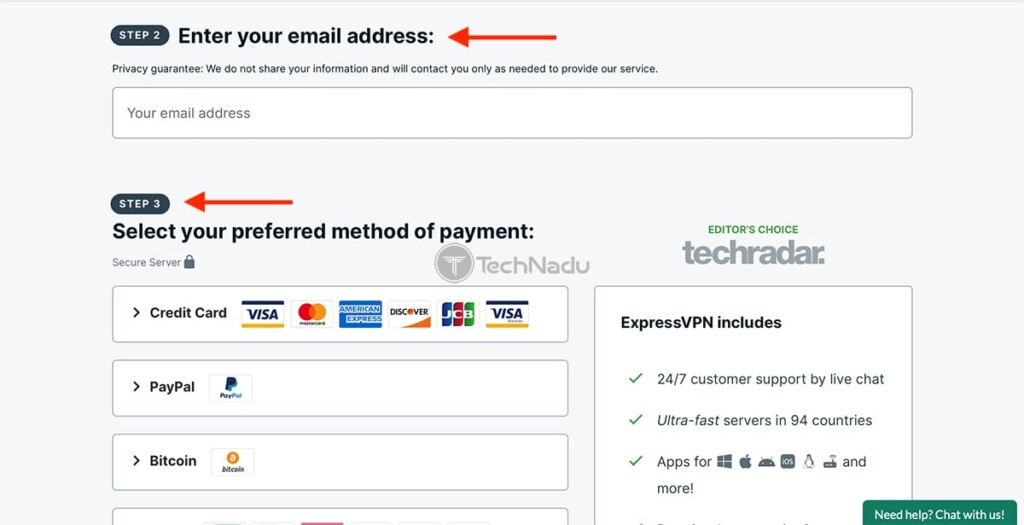 Signing Up for ExpressVPN Inputting Email and Payment Fields