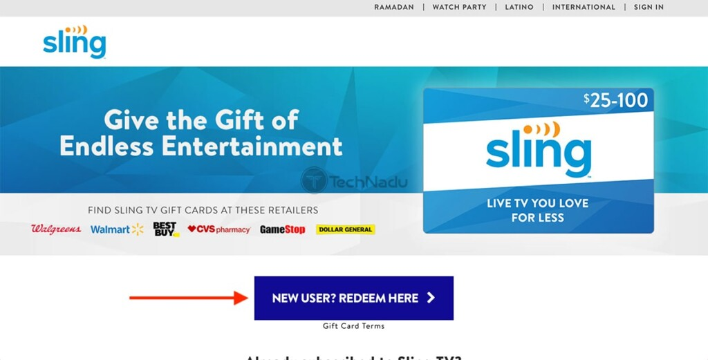 Sling TV Landing Page for Gift Cards