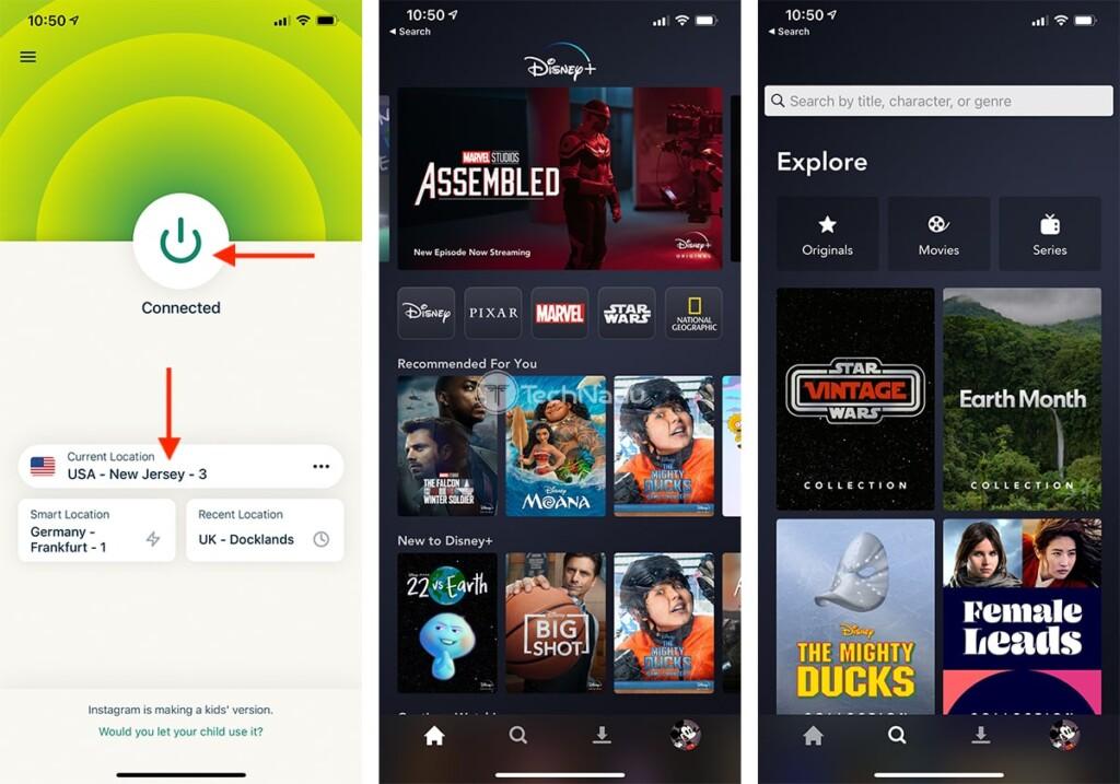 Streaming Disney Plus Outside US on iOS via ExpressVPN