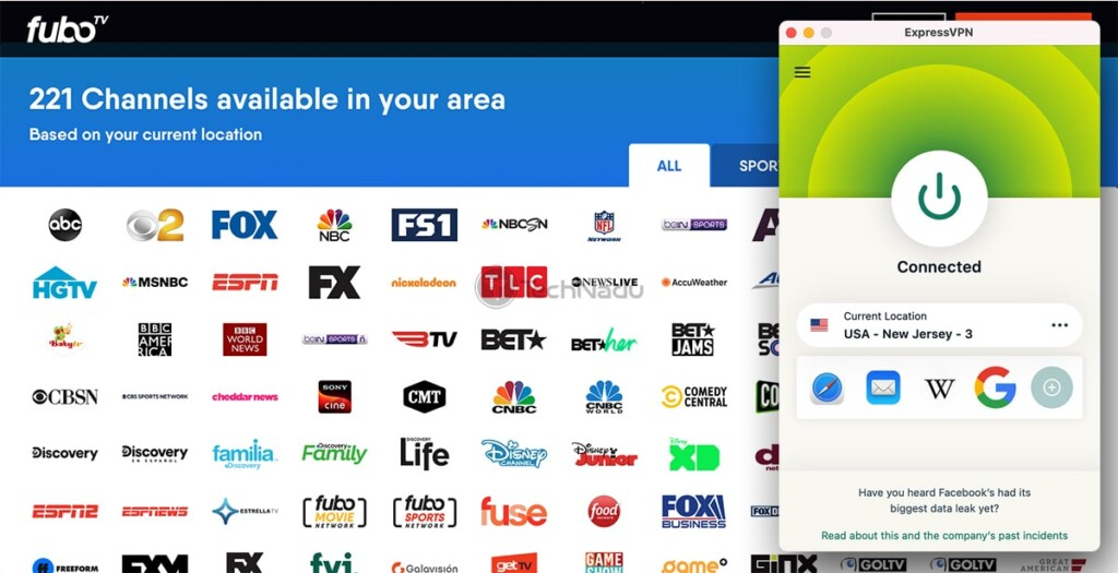 Unblocking fuboTV Outside the US via ExpressVPN