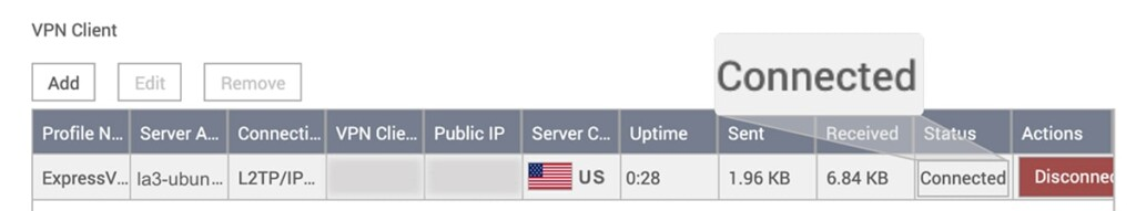 VPN Connected Status on QNAP