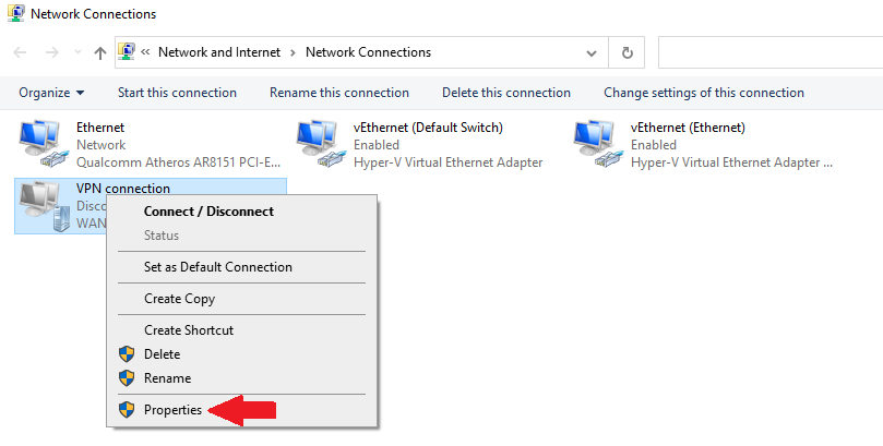 accessing properties for manual VPN connection