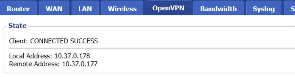 VPN Connection Status DD-WRT Router
