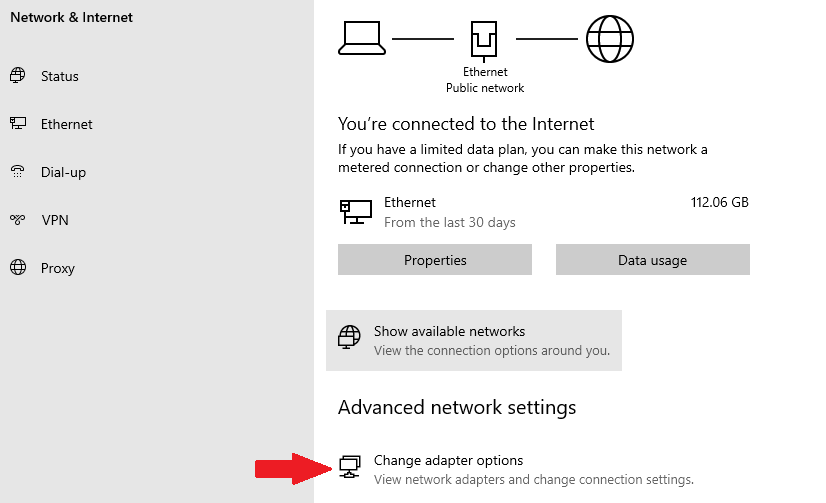 how to find the change adapter options setting on Windows 10