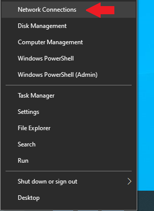 accessing network connections on windows 10