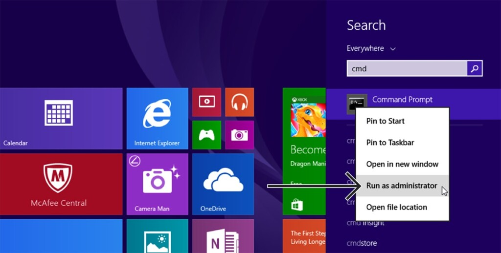 Windows 8 Search Bar Showing Command Prompt