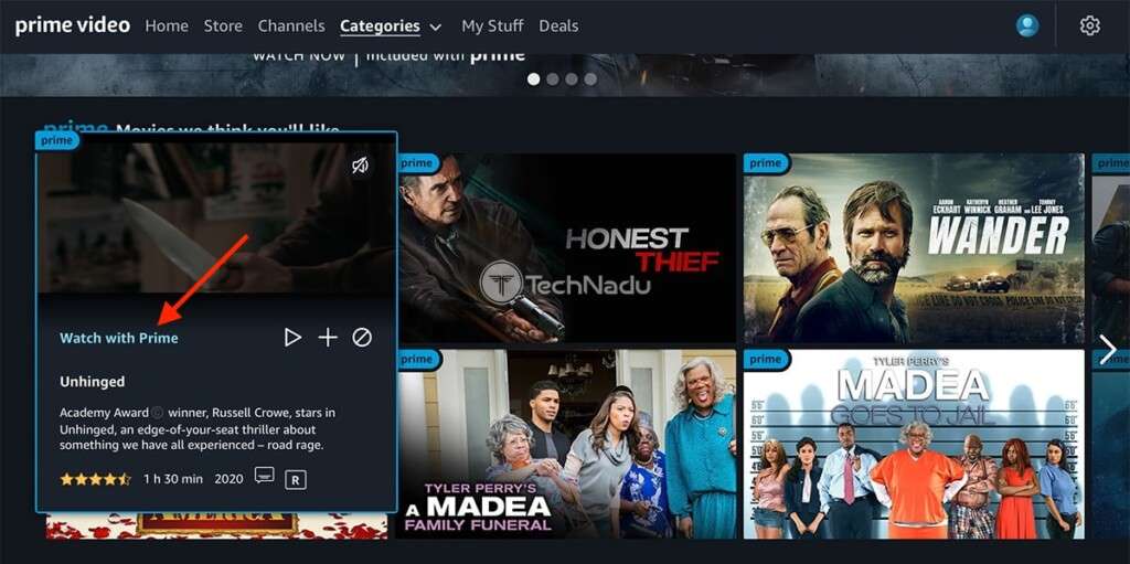 Amazon Prime Video US Landing Page