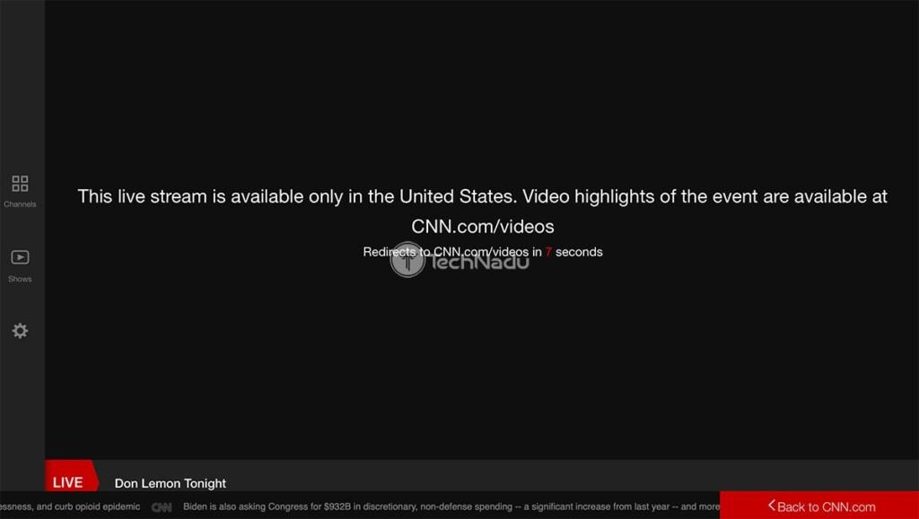 CNN Go Geo Block Message