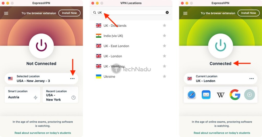 Connecting to a Server in the UK via ExpressVPN