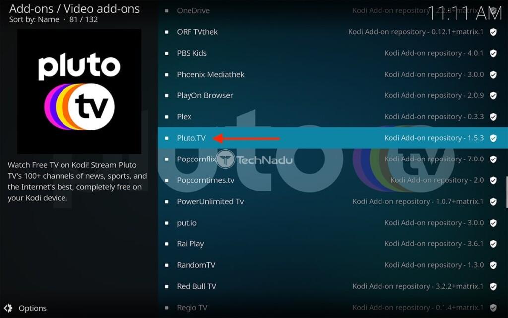 Downloading Pluto TV on Kodi