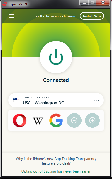 ExpressVPN connected screen