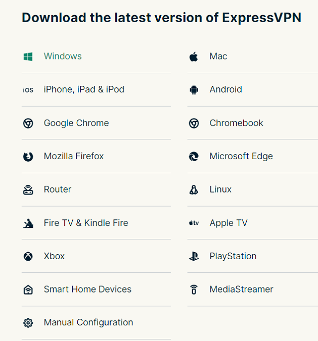 ExpressVPN list of supported devices and browsers