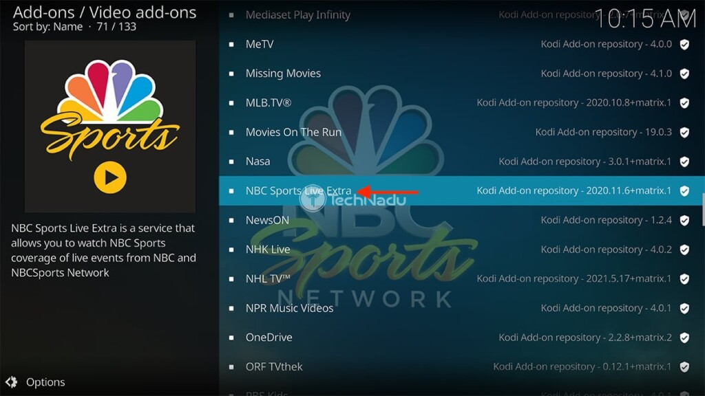 Finding NBC Sports Live Extra in Kodi's Official Repository