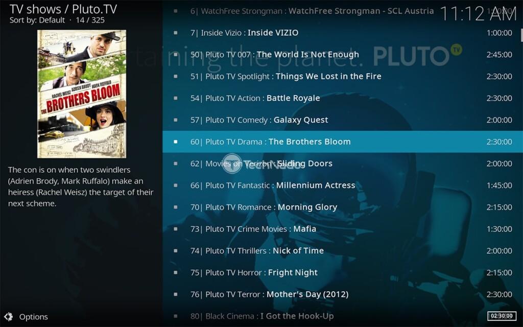 Home Screen of Pluto TV